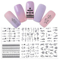 6 Sheets Necklace Geometry Flower Nail Water Decals Nail Art Transfer Stickers