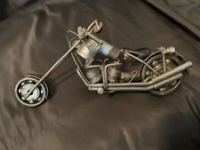 Scrap Metal Motorcycle Figurine, Steel Bike, Nuts and Bolts Chopper Sculpture