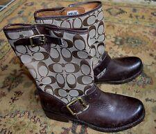FRYE Coach VERONICA Urban Western Cowboy Brown Biker Boots Sz.7 (M) NWOB WOW!