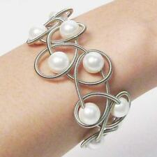 STUNNING LUSTROUS WHITE FRESH  WATER PEARL SILVER PIANO WIRE NETTING BRACELET