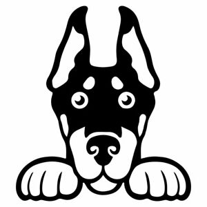 """5.5"""" PEEKING DOBERMAN PINSCHER Vinyl Decal Sticker Car Rescue Pet Dog Puppy"""