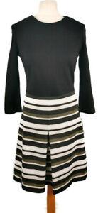 Hobbs Size 10 Black Cream Stripe Fit Flare 3/4 Sleeve Dress Smart Office Party