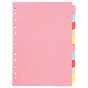 A4 Subject Folder Dividers 10 Part Punched Index Sheets Separator Organiser File