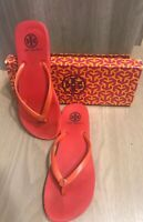 TORY BURCH Womens Tomato Red Flip Flops Gold Emblem Size 7
