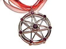 RED SEPTEGRAM CHOKER NECKLACE heptagram occult symbol wiccan elven star goth 1V