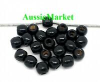 50 x wooden wood black paint painted beads 12mm x 11mm large big hole european