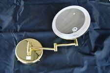Makeup mirror Lighted Wall Mounted Light 5x power expandable arm gold finish