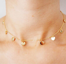 tiny gold coin choker necklace dainty disc necklace minimalist bridesmaid gift