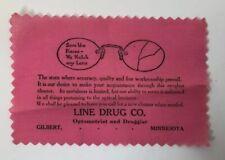 Line Drug Co Optometrist Druggist Advertising Lens Cleaner Gilbert Minnesota