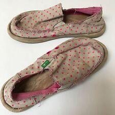 Sanuk Girls Sandals Size 1 Kids Shoes Natural Pink Polka Dot Slip On Surf Beach