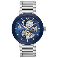 Bulova Men's Automatic Exhibition Caseback Skeleton Blue Dial 42mm Watch 96A204