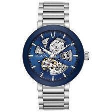 Bulova Men's Automatic Exhibition Caseback Skeleton Blue Dial 42mm Watch 96A204
