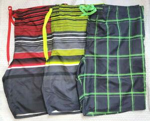 LOT of 3 OP Big Mens 3XL (48-50) Lined Swim Trunks Pockets Drawstring (1 NWT)