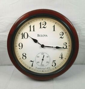 "Bulova 16"" Wall Clock Round with Wooden Trim (C4447)"