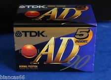 *** PACK DE 5 CASSETTES AUDIO VIERGES HQ - TDK AD90 - NEUVES ***