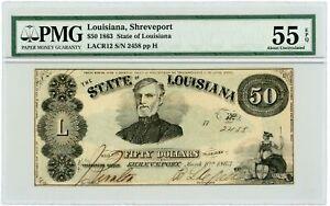1863 Cr.12 $50 The State of LOUISIANA Note - CIVIL WAR Era PMG AU 55 EPQ