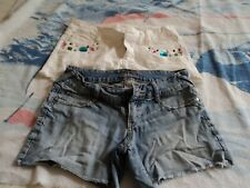 Decree size 7 shorts ~ Two pair  ~ Denim/ white ~ fray hem on both ~