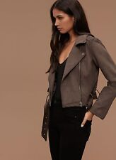 Aritzia Talula Morton Faux Suede Moto Jacket Brand New Size Small