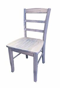 Driftwood Grey Ladder Back Farmhouse Chair (Rustic solid wood kitchen Dinning Ch