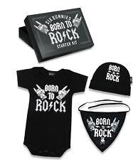 Six Bunnies Born to Rock Baby Body Strampler Geschenkset Gift Set