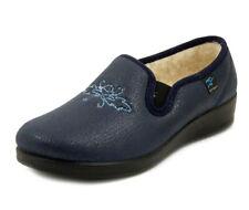 FLY FLOT Pantofole Donna Chiuse Invernali Eco Pelle Blu Imbottitura in Lana