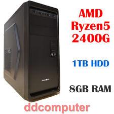 AMD Ryzen5 2400G 4-Core PC 8GB RAM 1TB HDD Radeon Vega Graphics Desktop Computer