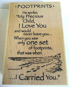 "FOOTPRINTS IN THE SAND POEM RELIGIOUS WOOD RUBBER STAMP INKADINKADOO 3"" X 4"""