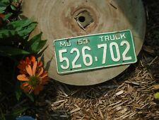 1953 Missouri Truck License Plate # 526-702, hard to find 1954