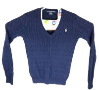 Ralph Lauren Womens Large Blue Cable Knit 100% Cotton V-Neck Pullover Sweater