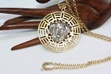 "New Versace 14K 585 Yellow White Solid Gold 2"" Greek Medusa Pendant Necklace 20"""