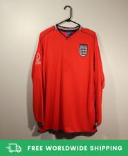 England 2002 World Cup Away Long-Sl Jersey Shirt Beckham Owen Scholes Sizes S-XL