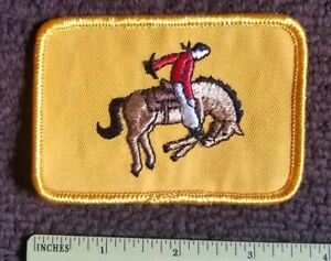 VINTAGE 1970s  RODEO BRONCO BUSTING - Horse & Cowboy COLLECTORS PATCH