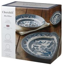 Churchill China Blue Willow Dinner Set, 12 Piece  Dinnerware Gift Box WBMB90001