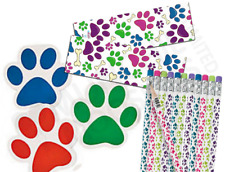 Pack of 36 Paw Print Stationery Pack, Pencils Bookmarks Notepads Party Fillers