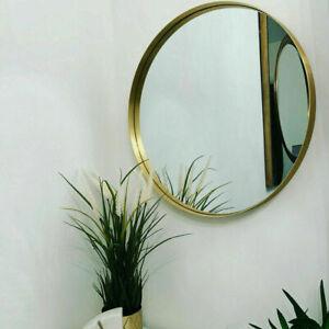 LARGE GOLD ROUND WALL MIRROR BRUSHED METAL FRAME BEDROOM BATHROOM HALLWAY 50CM