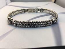 Konstantino Men's Ornate Lion Head Bracelet Sterling Silver Black Spinel Aeolos