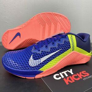 New Mens Nike Metcon 6 Sz 9 Deep Blue Crimson Weightlifting Shoes CK9388 400
