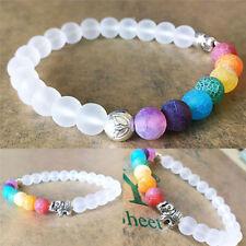 Charm 7 Chakra Healing Balance Elephant White Agate Stone Beaded Yoga Bracelet
