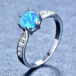 Silver Six-Claws Round Blue Simulated Opal Zircon Rings Wedding Jewelry Size 8