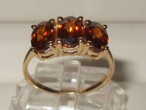 Beautiful Gems TV 9ct Yellow Gold 3.80ct Cognac Zircon 3 Stone Trilogy Ring
