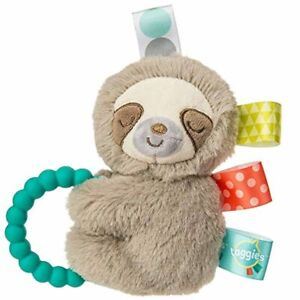 Taggies Sensory Stuffed Animal Soft Rattle with Teether Ring, Molasses Sloth