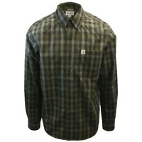 Carhartt Men's Relaxed Fit Olive Green Small Box Plaid L/S Woven Shirt (364)