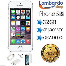 APPLE IPHONE 5S 32GB GRADO C BIANCO ORIGINALE RIGENERATO RICONDIZIONATO USATO