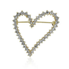 14k Yellow Gold 2.10ctw Diamond Heart Pin