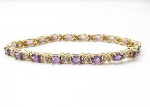 """Vtg 10K Gold Lavender Amethyst Diamond Link Tennis Bracelet Estate 6.75"""" Estate"""