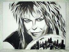 Canvas Painting Labyrinth Movie David Bowie Jareth F B&W 16x12 inch Acrylic