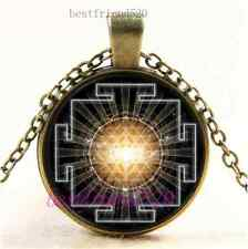 Vintage Universe Sri Yantra Photo Cabochon Glass Bronze Pendant Necklace