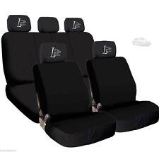 New 4X Car Live Laugh Love Logo Headrest & Black Cloth Seat Covers for Mercedes