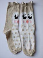 Womens Socks Owl Beige Size UK 4-7( EU 36-40) Cotton Rich Seamless Toe 1 Pair