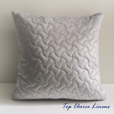 45cm x 45cm Velvet Geometric Quilted Cushion Cover- Silvery Grey